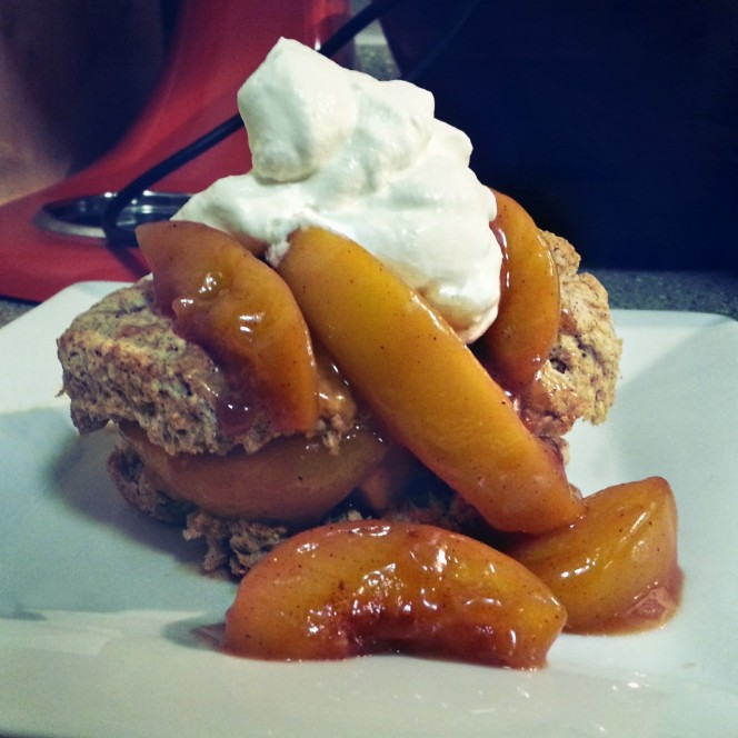 Peach Shortcake with a Cinnamon Biscuit