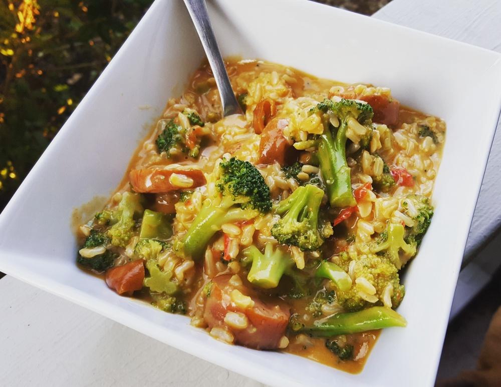 Cheesy Kielbasa & Broccoli Skillet