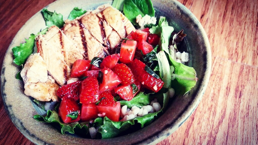 Strawberry Bruschetta Grilled Chicken Salad